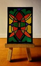 Aceo original painting Stained glass window
