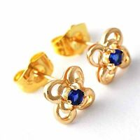 Womens Flower Blue Sapphire Crystal Stud Earrings Yellow Gold Filled