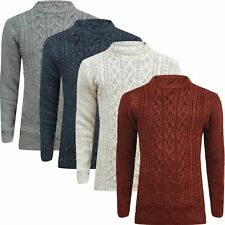 Mens Ex-Store Long Sleeve Crew Neck Sweater Jumper Sweatshirt Cable Knitted Top