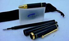 Vintage Pentech Panther Rollerball Pen Black Resin Gold Trims Fine Gel Ink Korea