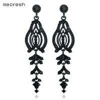 Mecresh Statement Black Crystal Dangle Earrings Wedding Bridal Floral Earrings