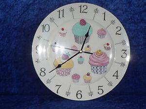 "Cupcake clock - colourful  fun 10.5"" large ceramic  wall clock - gift  boxed"