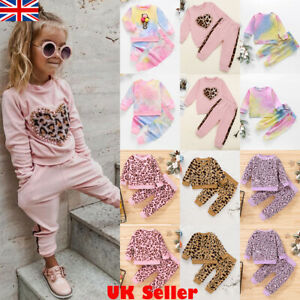 Toddler Baby Girls Winter Clothes Kids Leopard Tops Pants Outfits Set Tracksuit