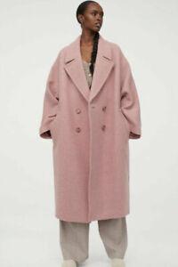 NEW H&M 70% Wool Coat Size SMALL Twill Oversized Pink Premium studio conscious