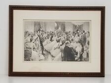 Julius L. Stewart 'A Hunt Ball' Antique Engraving Framed 20x14.5