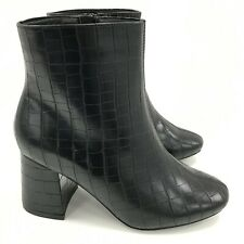 NEW NEW LOOK Black Croc Patterned Ankle Heeled Boots Ladies UK 6 081017