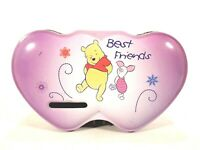 Disney Winnie the Pooh Piglet Best Friends Lavender Pink Heart Coin Bank Tin Box