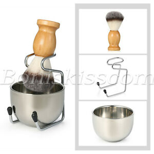 3 in 1 Wooden Handle Badger Synthetic Shaving Brush Stand Holder Mug Bowl Set