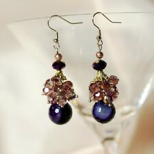 earrings Agate Violet Craft By Hand Evening Gift CC 4