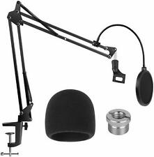 Blue Yeti Microphone Stand W/ Windscreen Dual Layered Pop Filter Suspension Boom