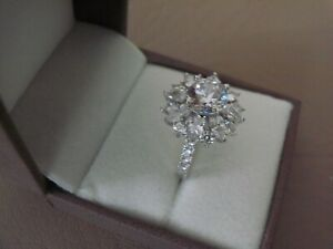 NEW QVC Michelle Mone 4.8ct Diamonique Set Sterling Silver Ring Choice of Size