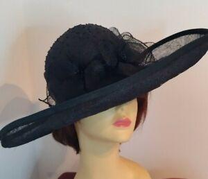Large Black Sinamay Wedding Occasion Hat
