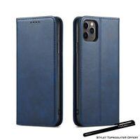 Etui portefeuille Bleu pour iPhone 11Pro 11 11ProMax Housse fermeture magnétique