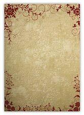 25 Blatt Motivpapier-5021 DIN A4 rote Blumen Ornamente auf Wand Briefpapier TOP