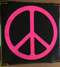 Ban The Bomb Blacklight Vintage Poster 1970s Pink Peace Sign Retro Pin-up