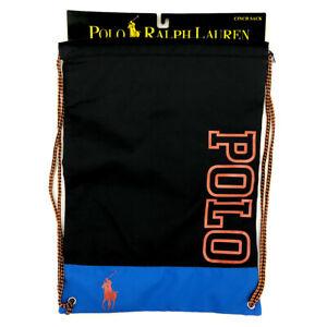 RALPH LAUREN Black Cinch Sack Backpack Rucksack School Gym