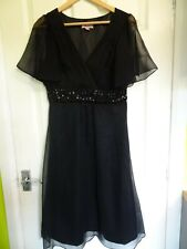 "Monsoon silk dress size 12 - Black 40"" length - Beaded Detail - Christmas/Party"