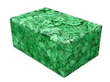 """BUTW Hand Carved Zaire Africa Malachite 5 7/8"""" Jewelry Box Lapidary 0474K"""