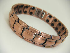 Mens Copper Colour Magnetic Bracelet With Twin Magnets Arthritis Aid 36 Magnets