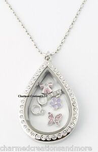 "Large Teardrop CZ Silver Floating Charm Memory Locket Necklace & 28"" Long Chain"