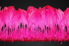 """30 Pcs BURNT COQUE FRINGE - SHOCKING PINK 8-12"""" Tall Feathers Pad"""
