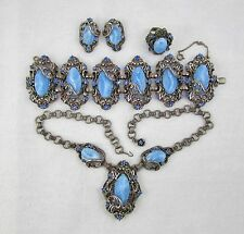 VICTORIAN Revival Blue PARURE SELRO? BRACELET NECKLACE EARRINGS RING Chunky #102