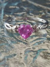 Pink Sapphire Heart Cut Checkerboard & Diamond Ring 10kt Solid White Gold