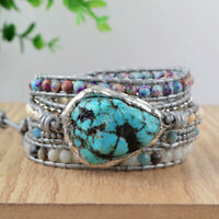 Handmade Silver Blue Howlite Turquoise Stone Beaded Leather Wrap Bracelet Women
