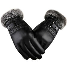 Mens Leather Touch Screen Warm Gloves Fleece Lining Fur Windproof Cuff Driving