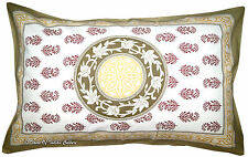 Light Brown Paisley Cotton Hand Block Printed Sham Pillow/cushion Cover India