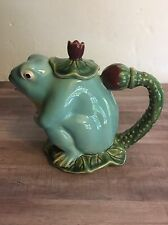 Henriksen Imports Whimsical Majolica Frog On Lily Leaf Tea Pot with Lid
