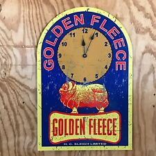 NEW Golden Fleece Clock Motor Oil Spirit tin metal sign H C Sleigh