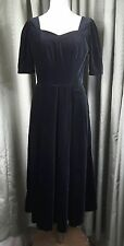 Laura ASHLEY VINTAGE IN VELLUTO NERO 1980s Lungo Stile Impero Abito da sera UK12