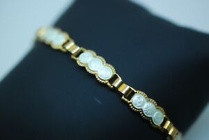 Norwegian Finn Jensen Gilded Sterling Silver Enamel White Bracelet Childs?