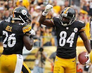 ANTONIO BROWN & LE'VEON BELL 8X10 PHOTO PITTSBURGH STEELERS FOOTBALL CLOSE UP