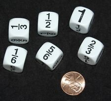 NEW Set of 6 FRACTION DICE (1/6~1/3~1/2~2/3~5/6~1) Math Home Classroom Resource