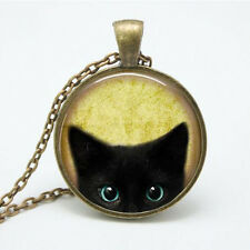 Vintage Black Cat Cabochon Bronze Glass Chain Pendant Necklace NEW Jewelry Gift