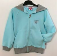 Junior Arsenal FC Gunners Blue Grey Hooded Zipped Jacket Hoodie Age 4-6 Kids