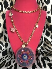 Tarina Tarantino Vintage Electric Koolade Pink Elephant Swarovski Peace Necklace