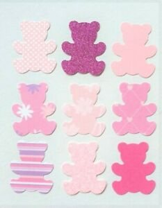 50 PINK TEDDIES CARD SHAPES CARD MAKING EMBELLISHMENTS BABY GIRL CARD PINK MIX