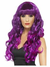 Smiffys Siren Wig - Long and Curly with Fringe - Purple