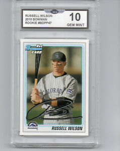 2010 BOWMAN RUSSELL WILSON BASEBALL ROOKIE CARD SEATTLE SEAHAWKS HOT