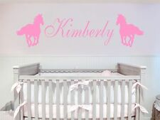 Custom Name and Horses Removable Art Vinyl Wall Decal Sticker Decor Baby Nursery