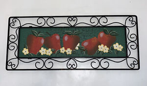 """Black Metal Scrollwork Painted Apples Wall Hanging Decor 19x8"""""""