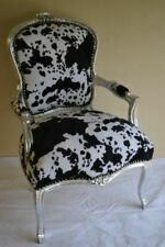 LOUIS XV ARM CHAIR FRENCH STYLE CHAIR VINTAGE FURNITURE COW COLOUR  SILVER WOOD