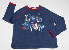 UGLY CHRISTMAS SWEATER WOMENS L LARGE TIARA SNOWMAN WINTER LET IT SNOW SEQUINS