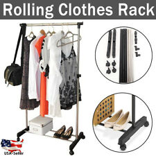 Rolling Stretching Clothes Stand Single Bar Rail Hanging Garment Hangers Shelves
