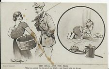 """RARE MILITARY WWI,POSTCARD,BRUCE BAINSFATHER,SOLDIER""""THE IDEAL AND THE REAL"""""""