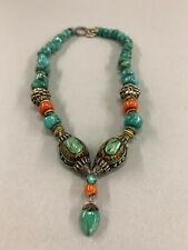 Ruth Frank Antique Mongolian Gold Wash Silver and Turquoise Pendant