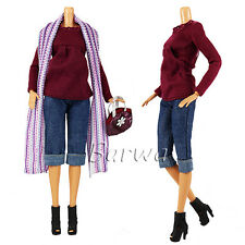 Evening Wedding Party Clothes Casual Dress Outfit Set For Barbie Doll Xmas Gift